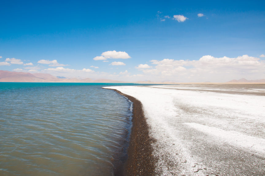 Salt line on the shore of Peiku Tso