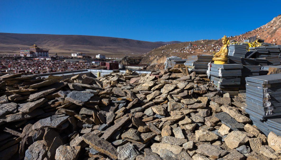 Mani piles at Baiyu Monastery