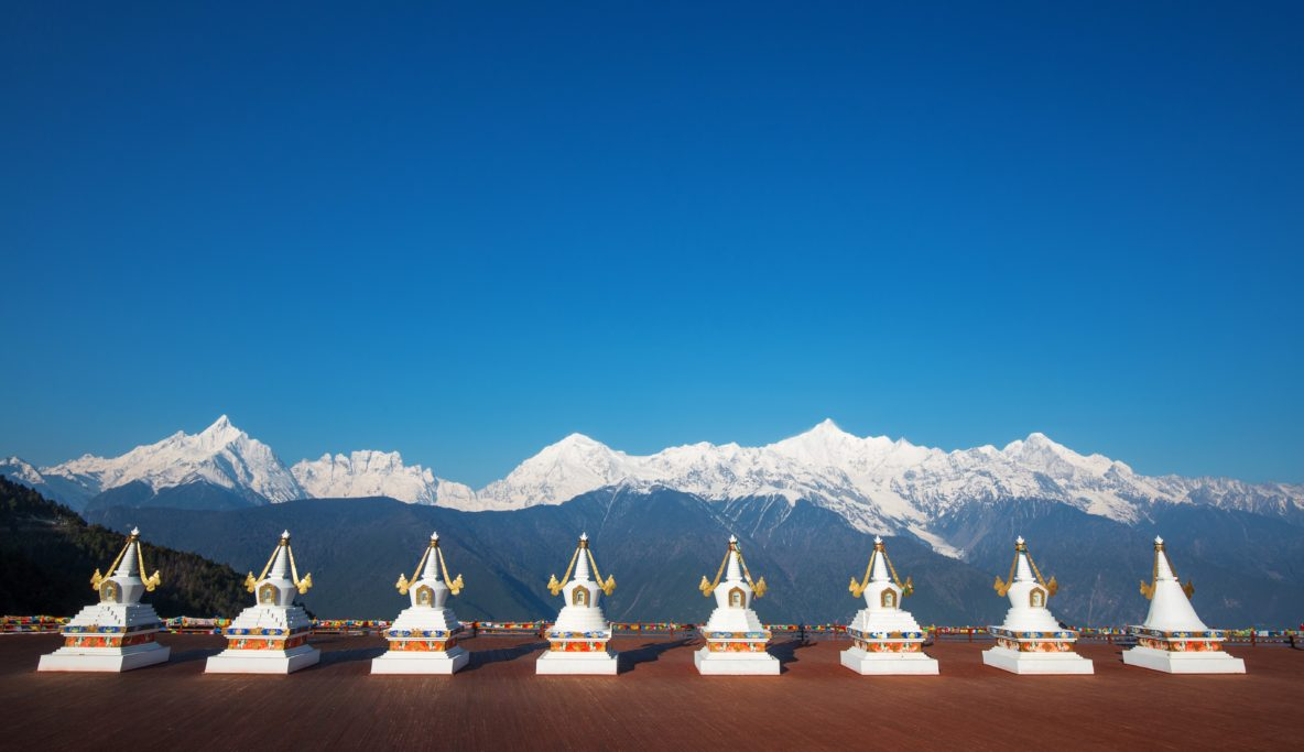 Stupa in front of Meili Snow Mountain