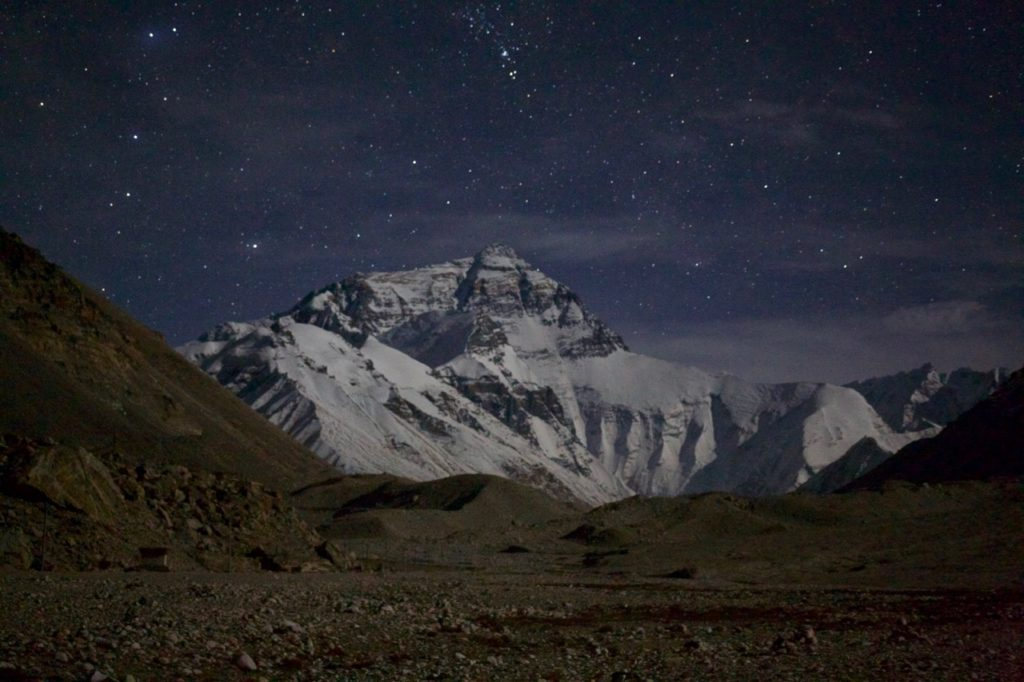 Mt. Everest at night.