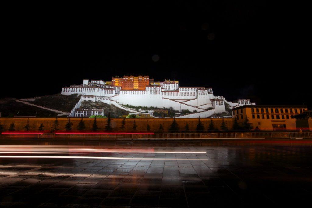 Potala Palace at night.