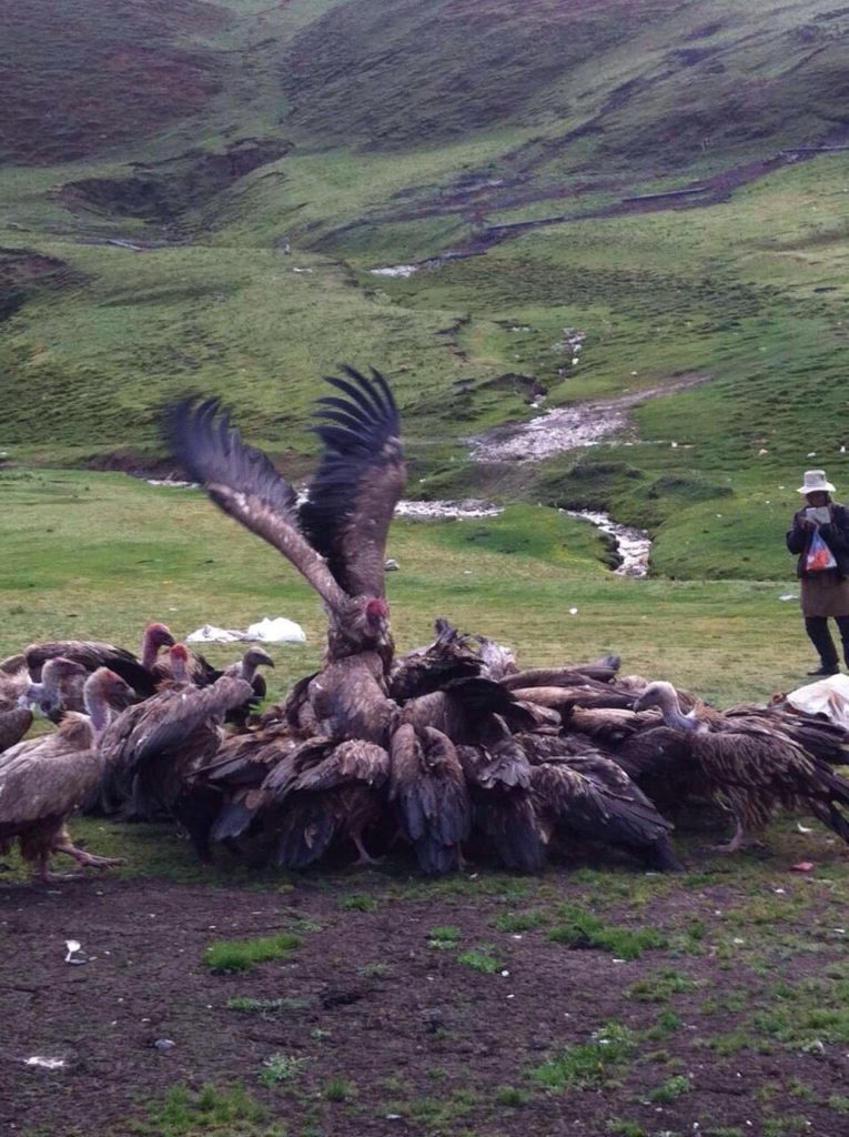 Tibetan Religious person is at sky burial