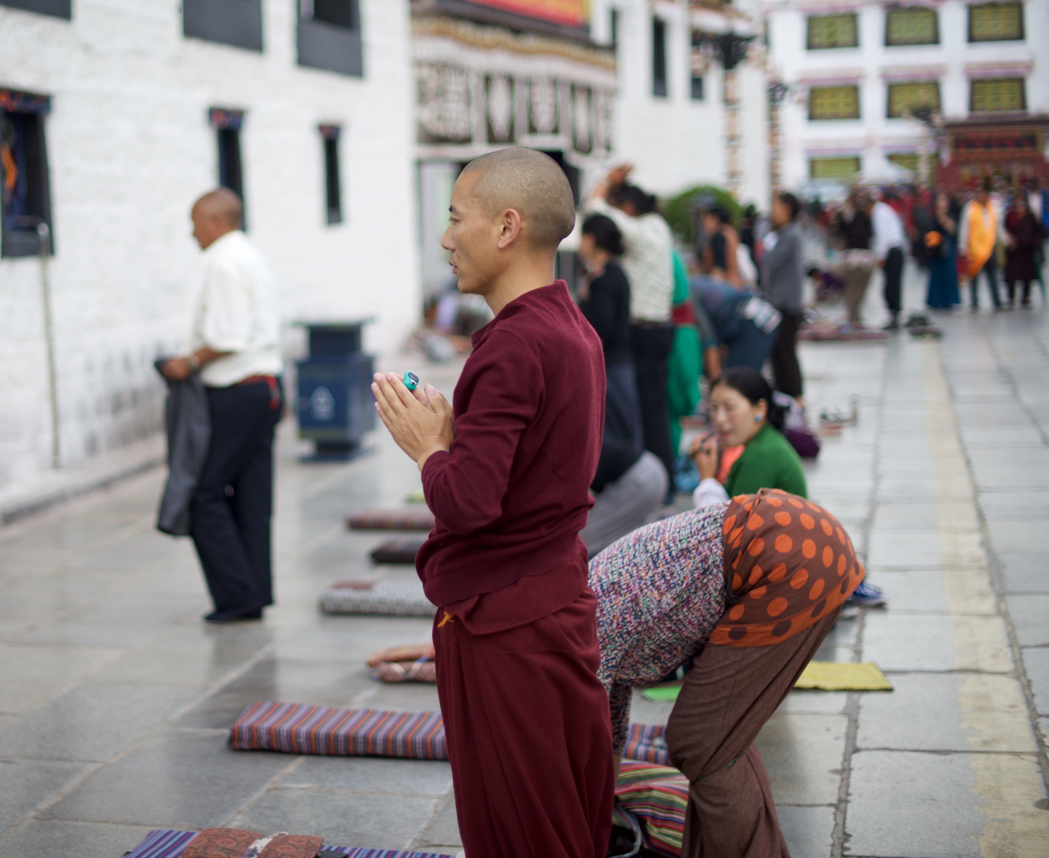 prostration in front of monastery