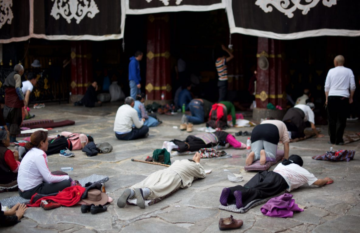 prostration in front of a monastery