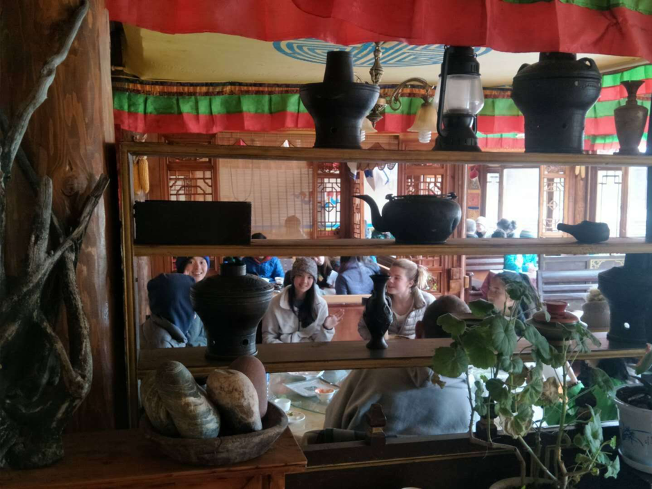 People enjoy Local Tibetan food at the restaurant